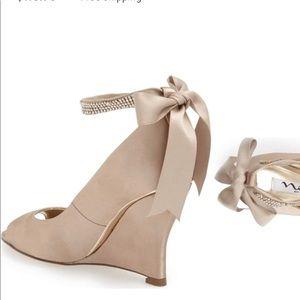 """Nina """"Emma"""" embellished ankle strap wedge heels."""
